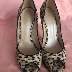 Casadei auth leopard peep toe pumps